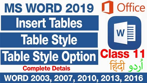 Insert Table-Table-Styles-and-Table-style-option-in-MS-Word-2019-in-Urdu-Hindi-Class-11