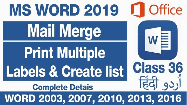 MS-Word-2019-For-Beginners-How-to-Use-Mail-Merge-To-Print-Labels-&-Create-a-List-Class-36