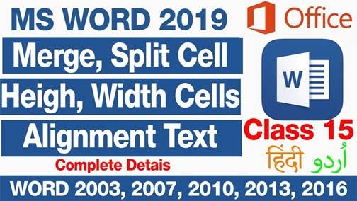 Merge-Split-Cells-Set-Height-Width-Alignment-of-text-MS-word-2019-In-Urdu-Hind-Class-15