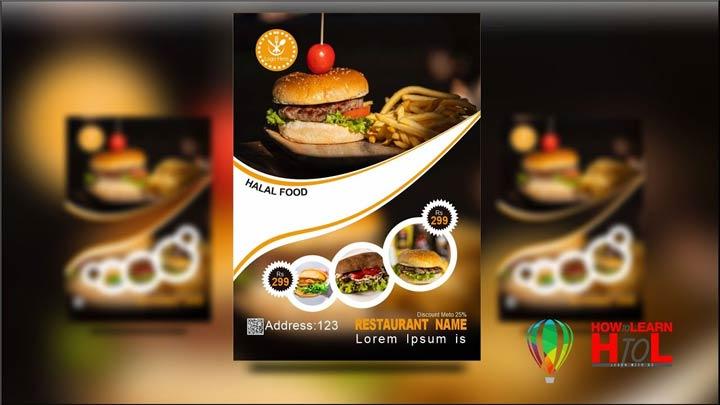 How-to-Make-Restaurant-Flyer-in-CorelDraw-in-Urdu-Hindi-Restaurant-Poster-Design