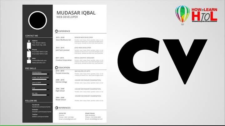How-to-Make-Resume--CV-in-CorelDraw-in-Urdu-Hindi-For-Beginners